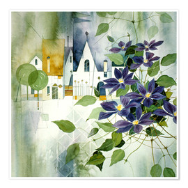 Póster Rural impression with clematis