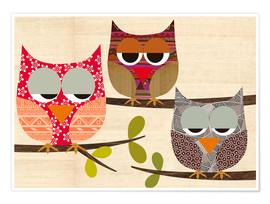 Póster Owls on wood Collage