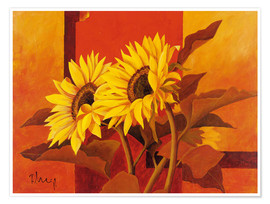 Póster  Two sunflowers III - Franz Heigl