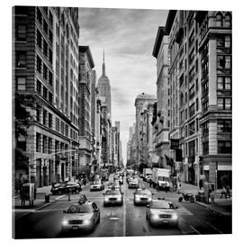 Cuadro de metacrilato  NYC 5th Avenue Traffic Monochrome - Melanie Viola