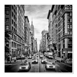Póster NYC 5th Avenue Traffic Monochrome