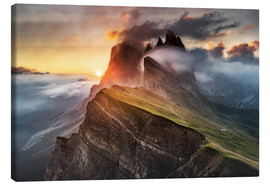 Lienzo  Sunrise in the Dolomites at Seceda - Andreas Wonisch