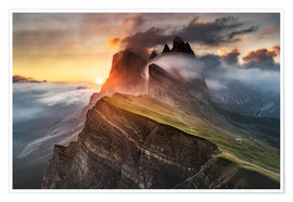 Póster  Sunrise in the Dolomites at Seceda - Andreas Wonisch