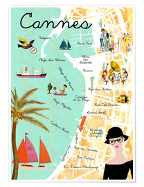 Póster  Cannes vintage Collage - GreenNest