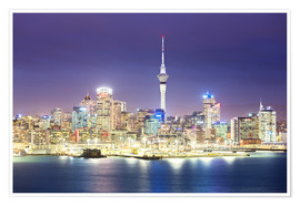 Póster Auckland city center skyline at night, New Zealand