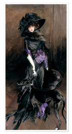 Póster Portrait of the Marchesa Luisa Casati with a greyhound