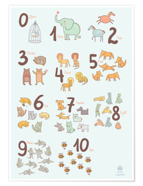 Póster  Animal numbers for the nursery - Petit Griffin