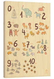 Cuadro de madera  Zoological numbers for nursery - Petit Griffin