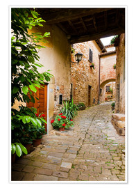 Póster Mediterranean alley in Tuscany