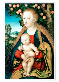 Póster Madonna with child under the apple tree