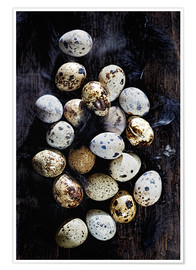 Póster  Quail eggs on Ebony - K&L Food Style