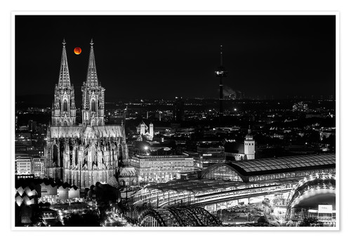 Póster Blutmond over the Cologne Cathedral