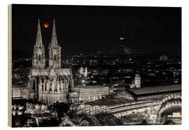 Cuadro de madera  Blutmond over the Cologne Cathedral - rclassen