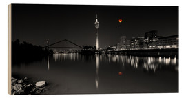 Cuadro de madera  Dusseldorf media harbor with Blutmond - rclassen