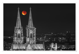 Póster Blood Red Moon Cologne Cathedral