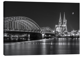 Lienzo  Cologne Cathedral and Hohenzollern Bridge at night (b / w) - rclassen