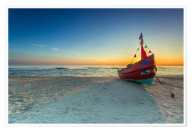 Póster Fishing boat on the Baltic Sea Usedom beach