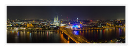 Póster  Cologne Night skyline panorama - rclassen