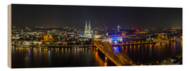 Cuadro de madera  Cologne Night skyline panorama - rclassen