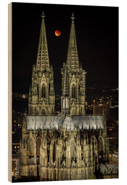 Cuadro de madera  Blood moon shines over Cologne Cathedral - rclassen