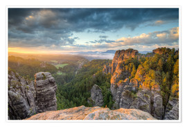 Póster  Saxon Switzerland Sunrise - Michael Valjak