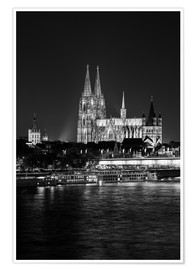 Póster Cologne Cathedral at night