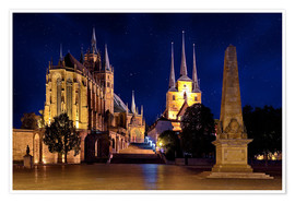Póster Cathedral of Erfurt under the stars