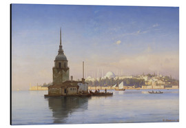 Cuadro de aluminio  The Maiden's Tower (Maiden Tower) with Istanbul in the background - Carl Neumann