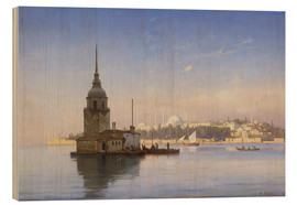 Cuadro de madera  The Maiden's Tower (Maiden Tower) with Istanbul in the background - Carl Neumann