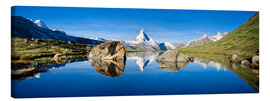 Lienzo  Swiss mountains with the Matterhorn and Stellisee - Jan Christopher Becke