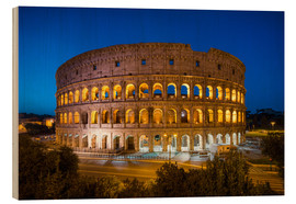 Cuadro de madera  Colosseum in Rome at night - Jan Christopher Becke