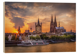 Cuadro de madera  Cologne Cathedral and Great St Martin - Jens Korte