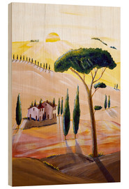 Cuadro de madera  Tuscany in the morning - Christine Huwer