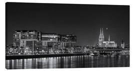 Lienzo  Cologne night Skyline black / white - rclassen