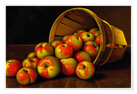 Póster STILL LIFE WITH OVERTURNED BASKET OF APPLES