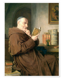 Póster Reading monk with wine glass
