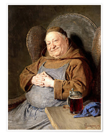 Póster  Sitting monk with tankards - Eduard Grützner