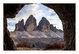 Póster Three peaks, Dolomites, South Tyrol