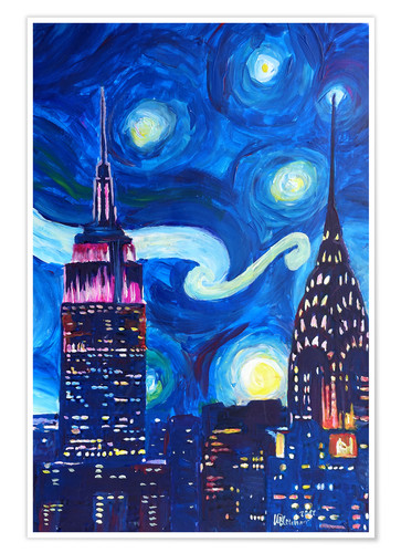Póster Starry Night, in New York - Van Gogh inspirations in Manhattan