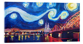 Cuadro de metacrilato  Starry Night in Cologne - Van Gogh inspirations on Rhine with Cathedral and Hohenzollern Bridge - M. Bleichner