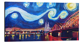 Cuadro de aluminio  Starry Night in Cologne - Van Gogh inspirations on Rhine with Cathedral and Hohenzollern Bridge - M. Bleichner