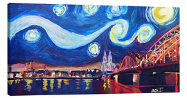 Lienzo  Starry Night in Cologne - Van Gogh inspirations on Rhine with Cathedral and Hohenzollern Bridge - M. Bleichner