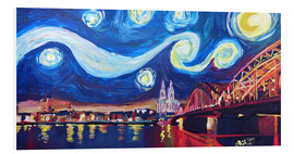 Cuadro de PVC  Starry Night in Cologne - Van Gogh inspirations on Rhine with Cathedral and Hohenzollern Bridge - M. Bleichner
