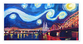 Póster Starry Night in Cologne - Van Gogh inspirations on Rhine with Cathedral and Hohenzollern Bridge