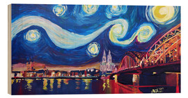 Cuadro de madera  Starry Night in Cologne - Van Gogh inspirations on Rhine with Cathedral and Hohenzollern Bridge - M. Bleichner