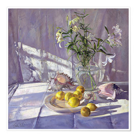 Póster  Still Life Flowers and Lemons - Timothy Easton