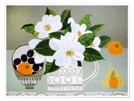 Póster  White Camellia and Tangerines - Vanessa Bowman
