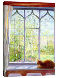 Lienzo  Cat in window in spring - Timothy Easton