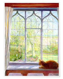 Póster  Cat in window in spring - Timothy Easton