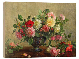 Cuadro de madera  Rose Bowl filled with Roses - Albert Williams